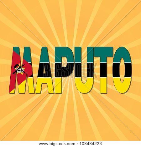 Maputo flag text with sunburst illustration