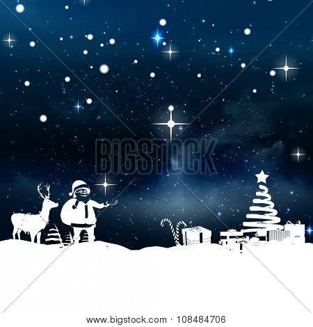 Christmas scene silhouette against stars twinkling in night sky poster