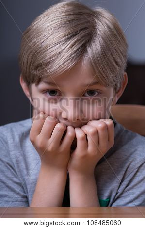 Scared Boy Biting Nails