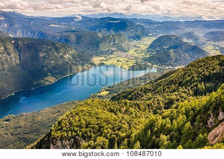 Beautiful Lake Bohinj surrounded by mountains of Triglav national park. view from Vogel cable car to