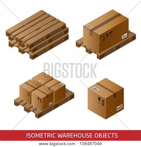 Set Of Isometric Cardboard Boxes And Pallets Isolated On White. 3D Warehouse Equipment. Industrial P