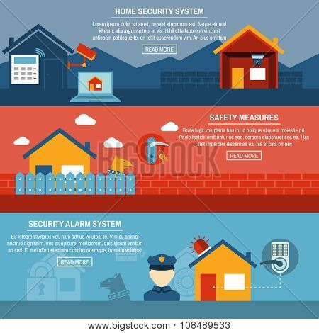 Home security interactive flat  banners set