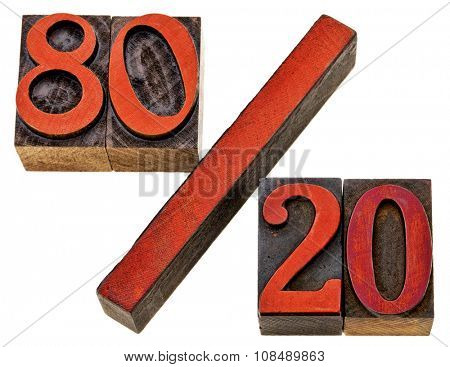 Pareto principle or eighty-twenty rule represented with isolated vintage wood letterpress printing blocks stained by red ink
