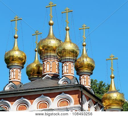 Golden domes and crosses Russian Orthodox Church poster