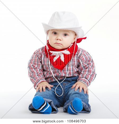 little funny cowboy on white background