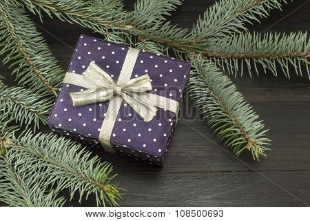 Cute Present Box With A Ribbon On A Fir Tree Branch