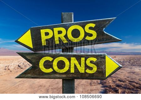 Pros Cons signpost in a desert background