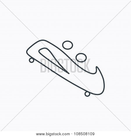 Bobsleigh icon. Two-seater bobsled sign.