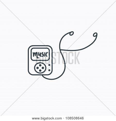 Music player icon. Songs portable device sign. Multimedia sound technology symbol. Linear outline icon on white background. poster