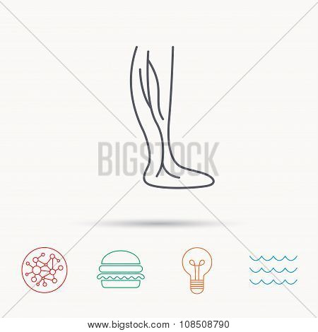 Phlebology icon. Leg veins sign. Varicose or thrombosis symbol. Global connect network, ocean wave and burger icons. Lightbulb lamp symbol. poster