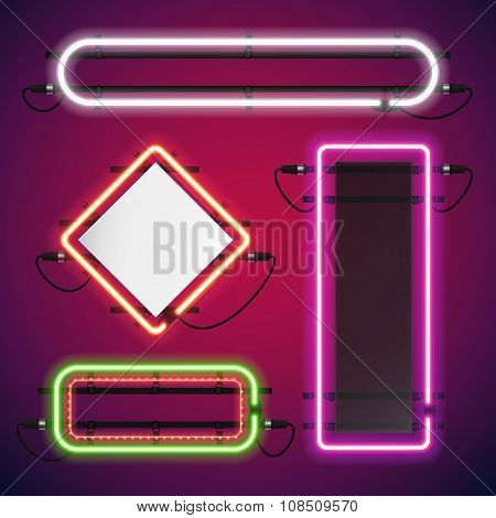Neon Lights Rectangle Frames Set