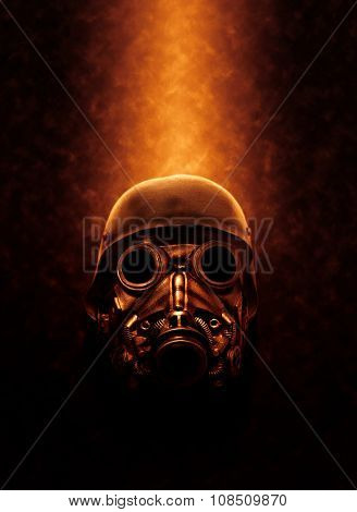 Still Life of Gas Mask and Military Helmet Lit from Above with Warm Fiery Lighting - Concept Image of Full Face Gas Mask
