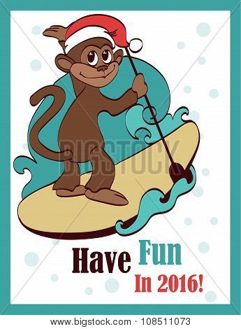Vector Happy Surfing Paddleboarding Holidays Monkey Greeting Card Design. Sea. Ocean. Paddleboard. S