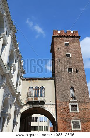 Tower Called Tower Of Torment In Piazza Delle Erbe In Vicenza In Italy