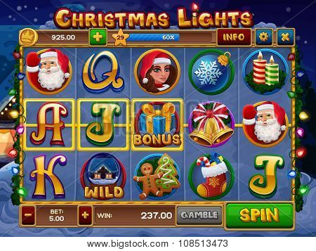 Christmas lights slots game. Vector illustration