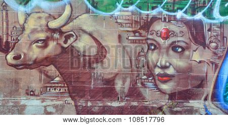 Street art indian queen
