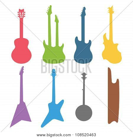 Acoustic and electric guitars vector set