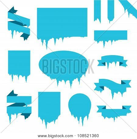 Collection of frozen icicle snow winter vector banners set
