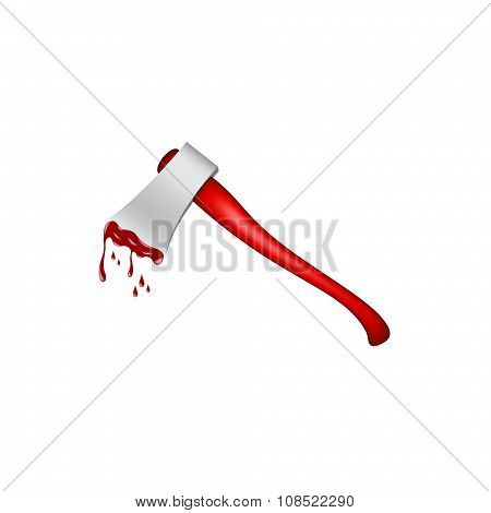 Old axe with wooden handle in red design and bloody blade on white background poster