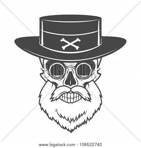 Head hunter skull with beard, hat and glasses vector. Rover logo template. Bearded old man t-shirt d