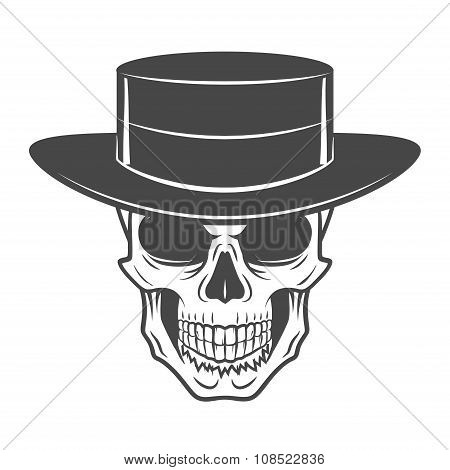 Wild west skull with hat. Smiling rover logo template. Wanted die or alive portrait. High way man t-