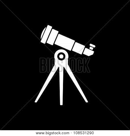 The telescope icon. Spyglass symbol. Flat Vector illustration poster