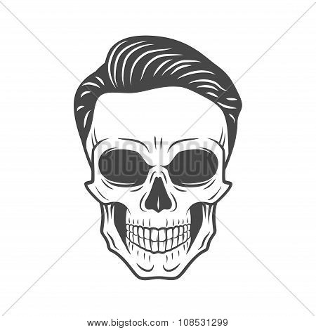 Young stylish skull with hipster hair. Glamour rock skeleton logo template