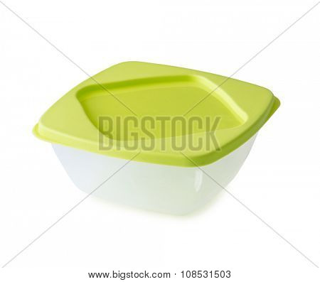 empty plastic lunchbox with lid isolated on white background