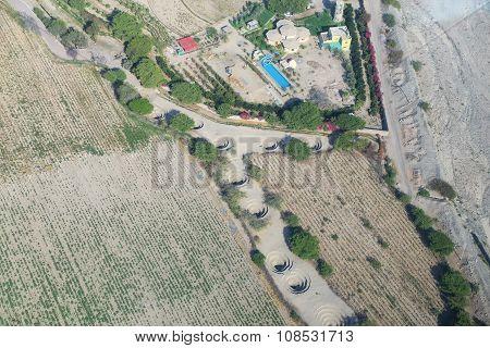 Aerial View Of Cantalloc Aqueducts, Nazca, Peru.