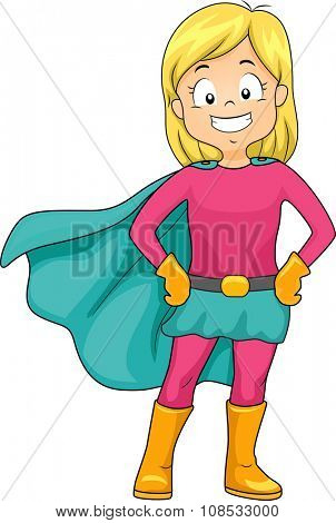 Illustration of a Little Girl Dressed as a Caped Superheroine