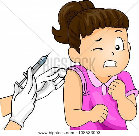 Illustration of a Little Girl Wincing at the Sight of a Syringe