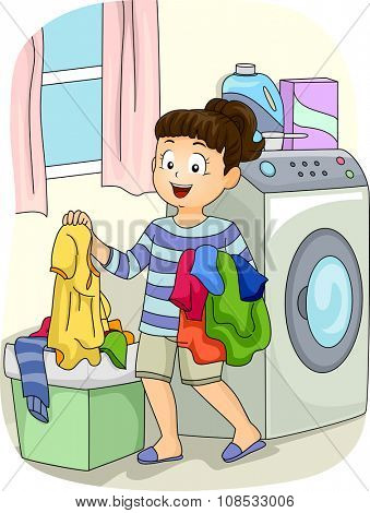 Illustration of a Little Girl Collecting Clothes from the Hamper