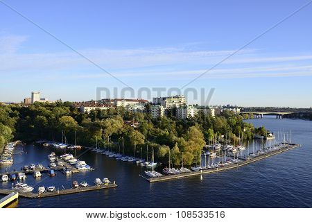 Stockholm embankment with boats