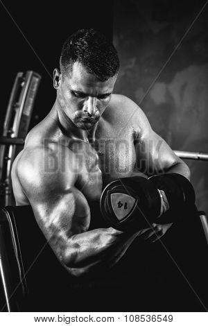 Brutal athletic man pumping up muscles with dumbbells in monochrome poster