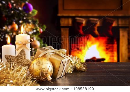 Christmas scene with fireplace and   Christmas tree in the background