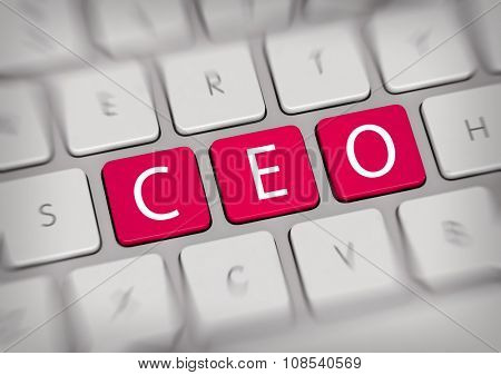 High Angle Close Up View of Mac Computer Keyboard with Blurred Action Focus on Bright Pink Fuschia Keys Spelling the Word CEO - Business Concept Image. 3d Rendering.