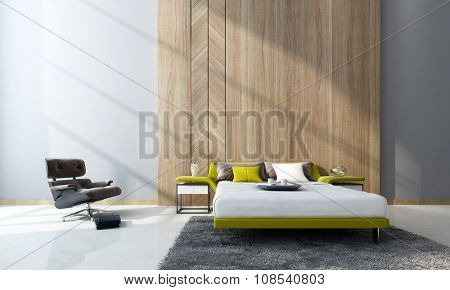 Contemporary bedroom interior with a double divan bed and cabinets in front of feature wood paneling and a comfortable armchair in a double-volume room. 3d Rendering.