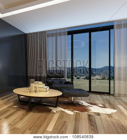 Cozy corner in a modern living room with a black recliner chair and table on an animal skin floor covering on a parquet floor in front of panoramic view windows overlooking mountains. 3d Rendering.