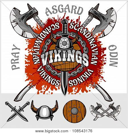Viking emblem and logos plus isolated elements for custom designs