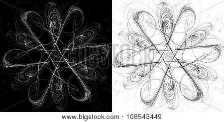 Black and white fractal pattern, art background for creative design.