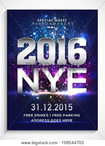 Shiny Flyer, Banner or Pamphlet for Happy New Year's 2016 Eve Party celebration.