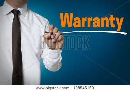 Warranty is written by businessman background concept. poster
