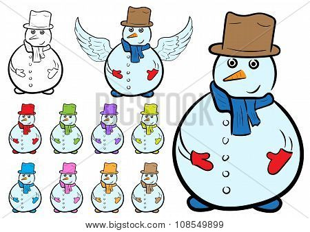 Clipart with sketches of snowmen in color clothes poster