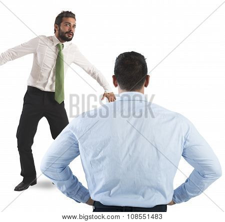 Man frightened by his severe big boss poster