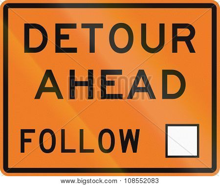New Zealand Road Sign - Detour Ahead, Follow Square Symbol
