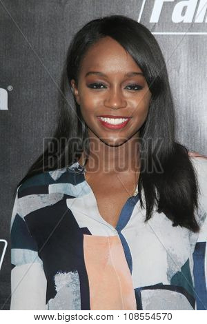LOS ANGELES - NOV 05:  Aja Naomi King at the Fallout 4 video game launch  at the downtown on November 05, 2015 in Los Angeles, CA