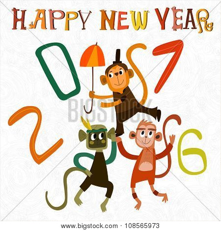 Happy New Year 2016. Cartoon Card With Cute Monkeys-stock Vector