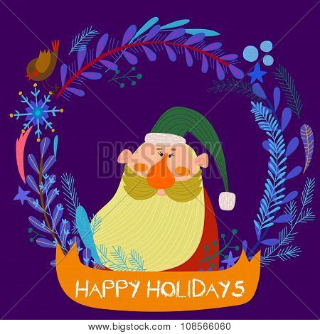 Stylish New Year And Christmas Card With Cute Funny Santa Claus. Hand Drawn Vector Illustration Of S