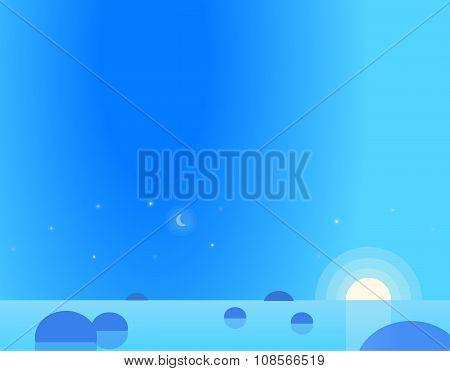 Wallpaper Landscape of Seascape at Dawn or Dusk, Vector Illustration