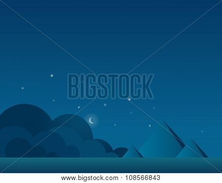 Wallpaper Landscape of Desert and Pyramids at Night, Vector Illustration